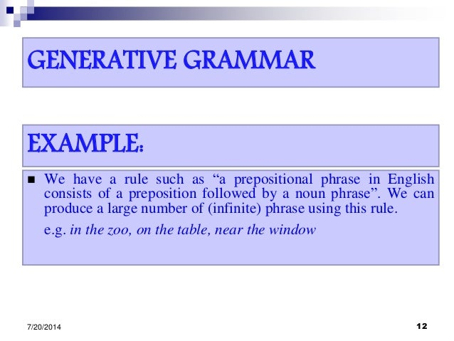 """GENERATIVE GRAMMAR  We have a rule such as """"a prepositional phrase in English consists of a preposition followed by a nou..."""