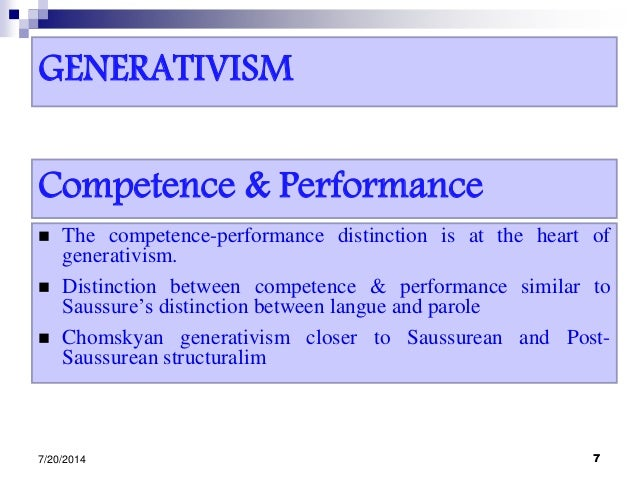 GENERATIVISM  The competence-performance distinction is at the heart of generativism.  Distinction between competence & ...