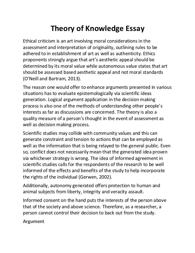 theory of knowledge essay theory of knowledge essay ethical criticism is an art involving moral considerations in the assessment and