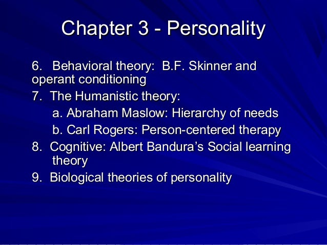 PSY 405 Personality Analysis Dispositional and Learning Theories