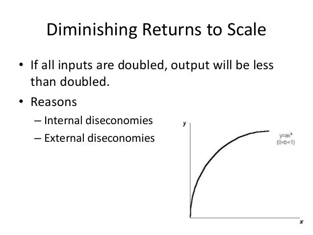 difference between diminishing marginal productivity and returns to scale Diminishing marginal returns are an effect of increasing input in the short run  while at  what is the difference between a logarithmic price scale and a linear  one  why is productivity an important concept in economics.