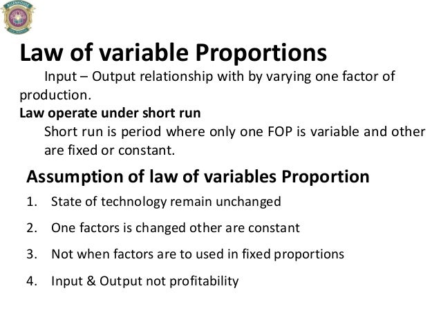Law of variable Proportions Input – Output relationship with by varying one factor of production. Law operate under short ...