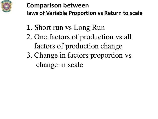 Comparison between laws of Variable Proportion vs Return to scale 1. Short run vs Long Run 2. One factors of production vs...