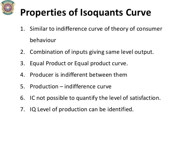 Properties of Isoquants Curve 1. Similar to indifference curve of theory of consumer behaviour 2. Combination of inputs gi...