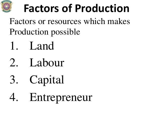 Factors of Production Factors or resources which makes Production possible 1. Land 2. Labour 3. Capital 4. Entrepreneur