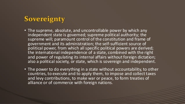 importance of sovereignty in a state