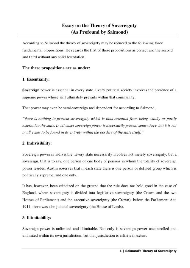 English Essays For Students   Salmonds Theory Of Sovereignty Essay On The Theory Of Sovereignty As  Profound By  Process Essay Example Paper also English Essay Story Salmonds Theory Of Sovereignty Essay Paper Writing