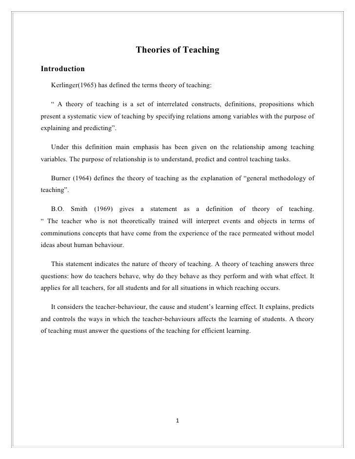 Theory of teaching