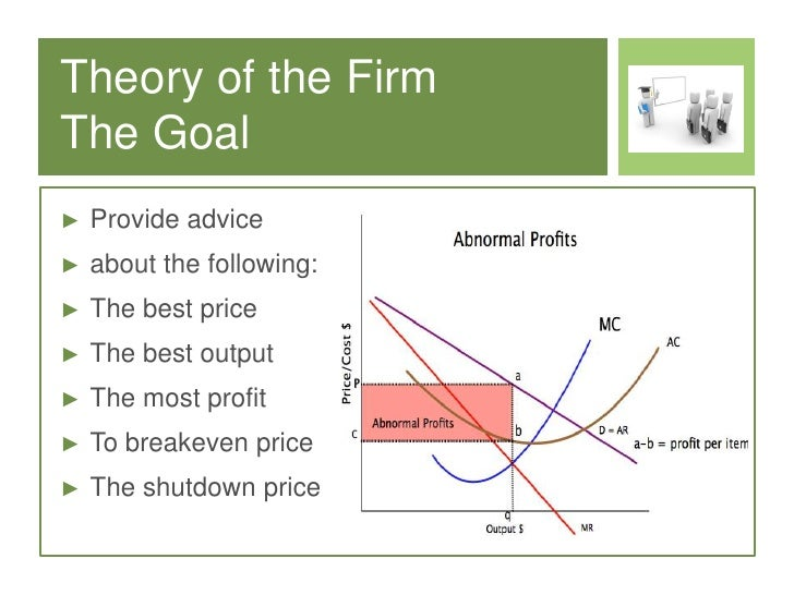 theory of firm Definition of theory of the firm: behavior of a firm in pursuit of profit maximization, analyzed in terms of (1) what are its inputs, (2) what production techniques are employed, (3) what is the quantity produced, and (4) what prices .