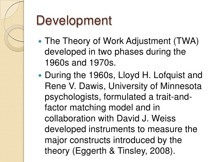 work adjustment theory Aims to evaluate the reliability and validity of the work and social adjustment scale (wsas) an examination of theory and applications.