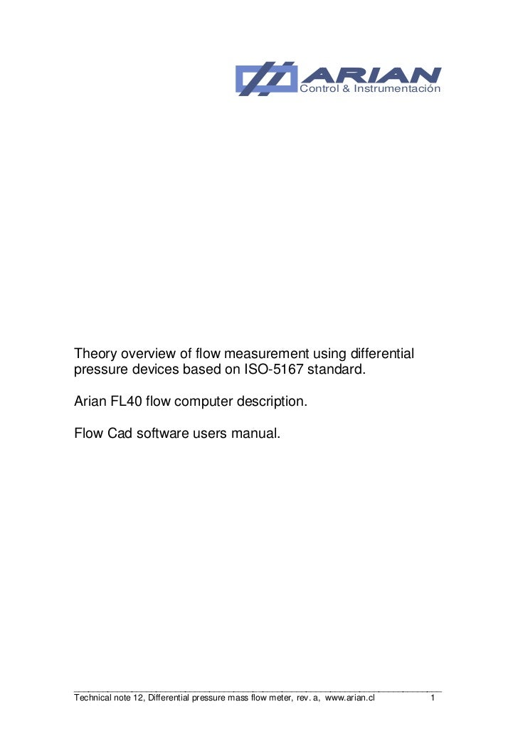 Control & InstrumentaciónTheory overview of flow measurement using differentialpressure devices based on ISO-5167 standard...