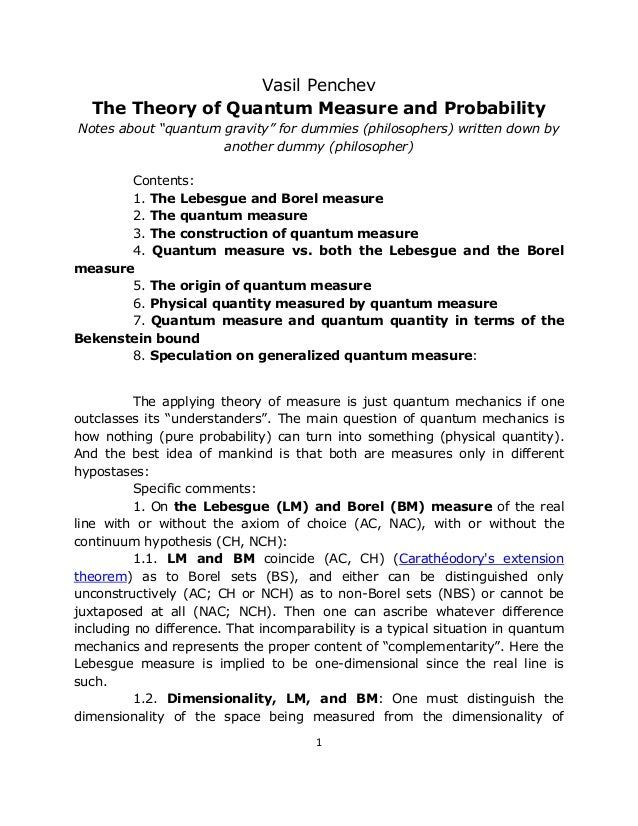 """Vasil Penchev  The Theory of Quantum Measure and ProbabilityNotes about """"quantum gravity"""" for dummies (philosophers) writt..."""