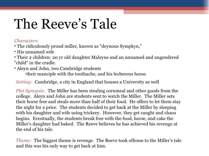 the millers tale and the reeves tale essay In geoffrey chaucer's short story, the miller's tale, the miller tells an embarrassing tale about the reeve as an act of retaliation, the reeve tells.
