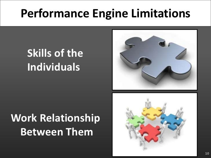 10<br />Performance Engine Limitations<br />Skills of the Individuals<br />Work Relationship Between Them<br />