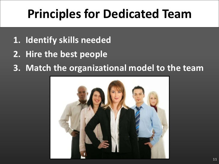 Identify skills needed<br />Hire the best people<br />Match the organizational model to the team<br />11<br />Principles f...