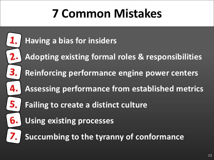 Having a bias for insiders<br />Adopting existing formal roles & responsibilities<br />Reinforcing performance engine powe...