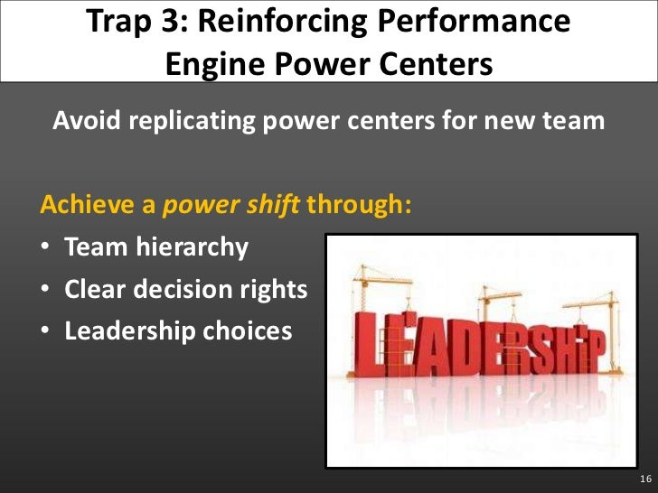 Avoid replicating power centers for new team<br />Achieve a power shift through:<br />Team hierarchy<br />Clear decision r...