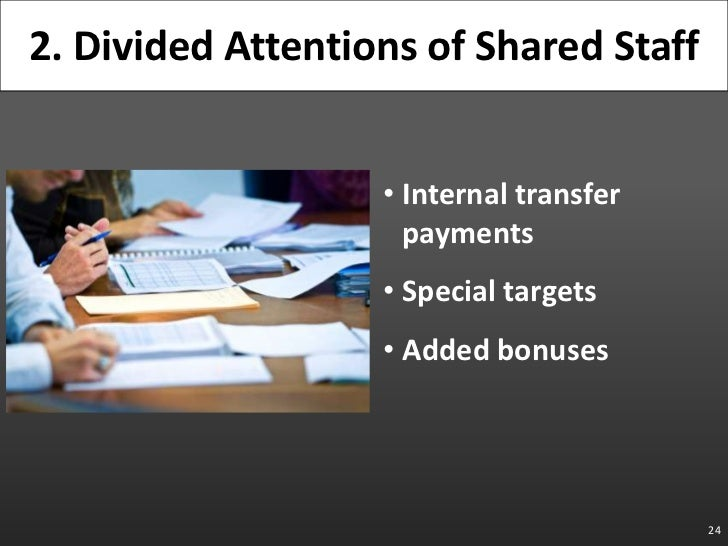 Internal transfer payments<br />Special targets<br />Added bonuses<br />24<br />2. Divided Attentions of Shared Staff<br />