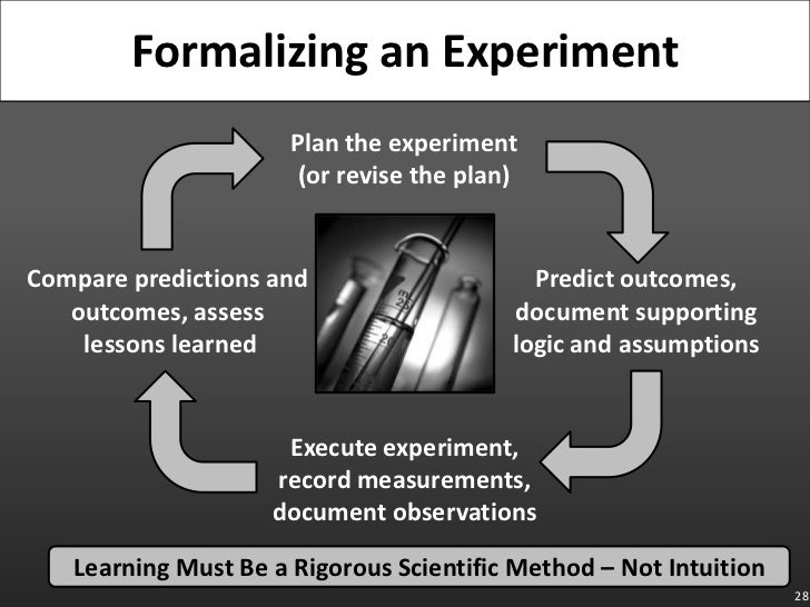 28<br />Formalizing an Experiment<br />Plan the experiment(or revise the plan)<br />Compare predictions and outcomes, asse...