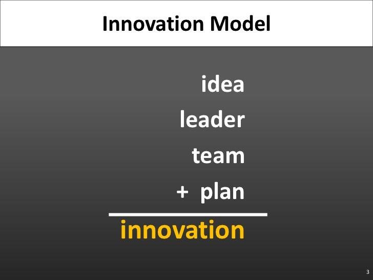 idea<br />leader<br />team<br />+  plan<br />innovation<br />3<br />Innovation Model<br />