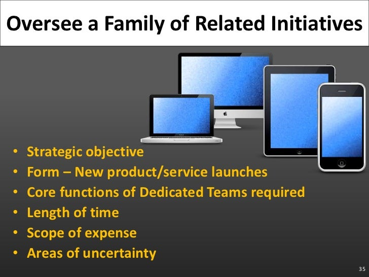 Strategic objective<br />Form – New product/service launches<br />Core functions of Dedicated Teams required<br />Length o...