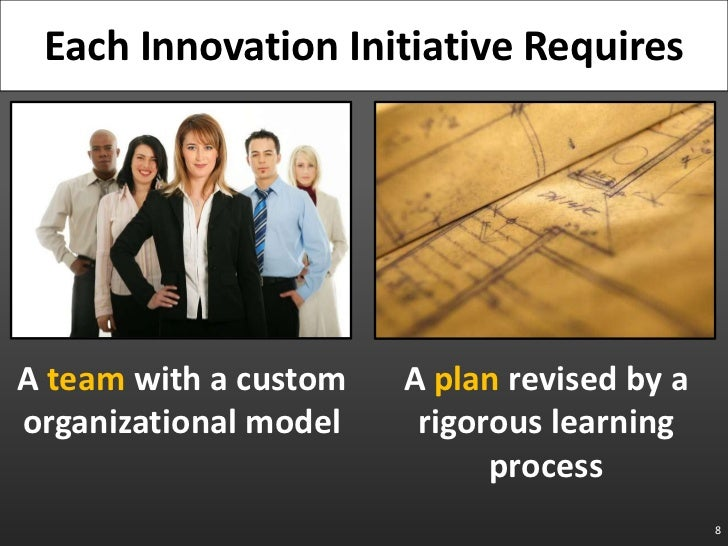 8<br />Each Innovation Initiative Requires <br />A team with a custom organizational model<br />A plan revised by a rigoro...