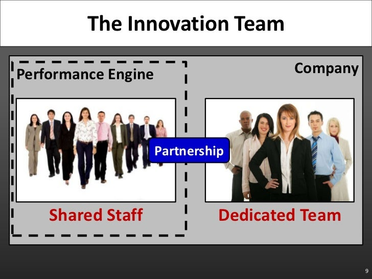 Company<br />Performance Engine<br />9<br />The Innovation Team<br />Partnership<br />Dedicated Team<br />Shared Staff<br />
