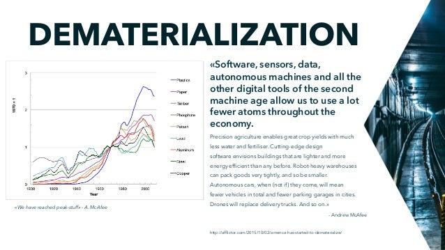 DEMATERIALIZATION http://afflictor.com/2015/10/02/america-has-started-to-dematerialize/ «Software, sensors, data, autonomou...