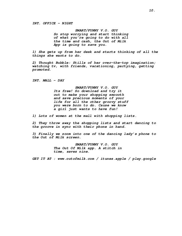 The out of milk ad script