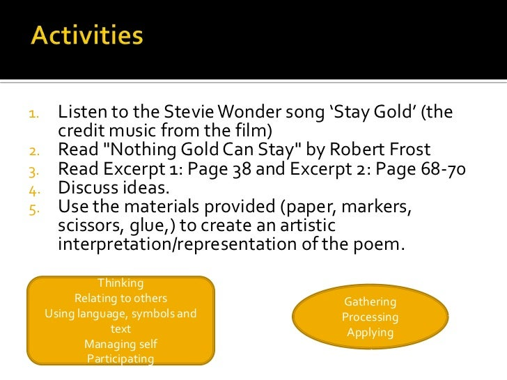 essay on nothing gold can stay Scaffolding the process of moving from literal interpretation to critical analysis in explication/commentray/short essay form.