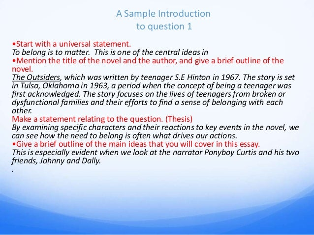 the outsiders essay power point cm  shmoop com the outsiders 11 a sample introduction to question