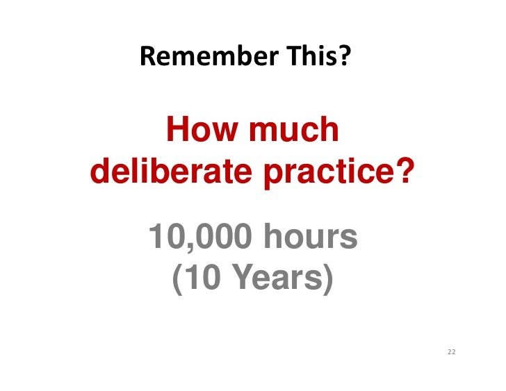 RememberThis?     How muchdeliberate practice?   10,000 hours    (10 Years)                       22