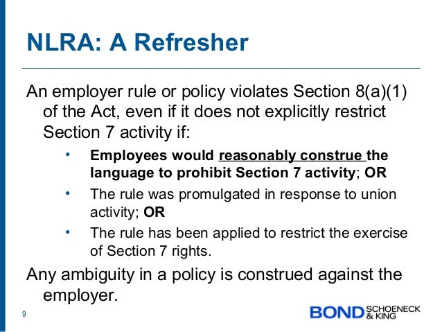 Section 8 of the National Labor Relations Act (NLRA) - ACOUNTANT - 502