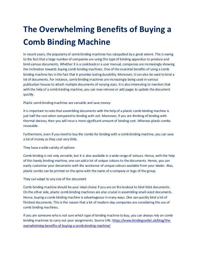 The Overwhelming Benefits of Buying a Comb Binding Machine