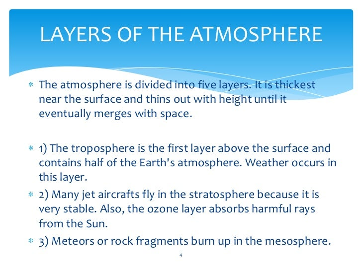 layers of the atmospherethe atmosphere is divided into five layers