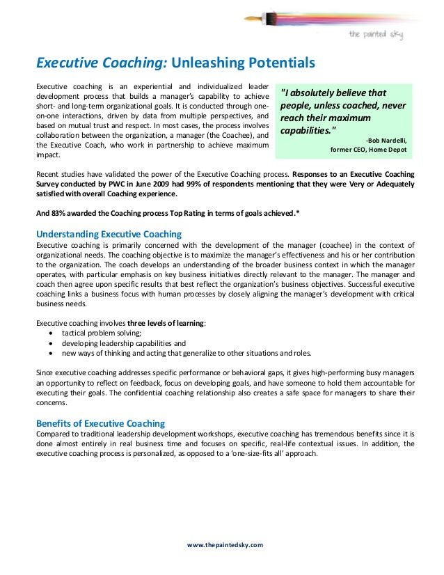 Executive Coaching: Unleashing PotentialsExecutive coaching is an experiential and individualized leaderdevelopment proces...