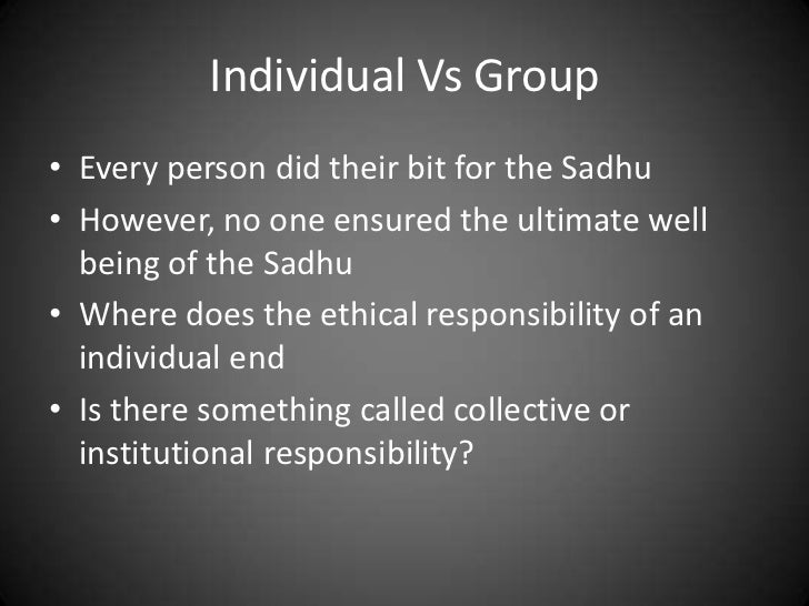 Ethical analysis of the parable of the sadhu