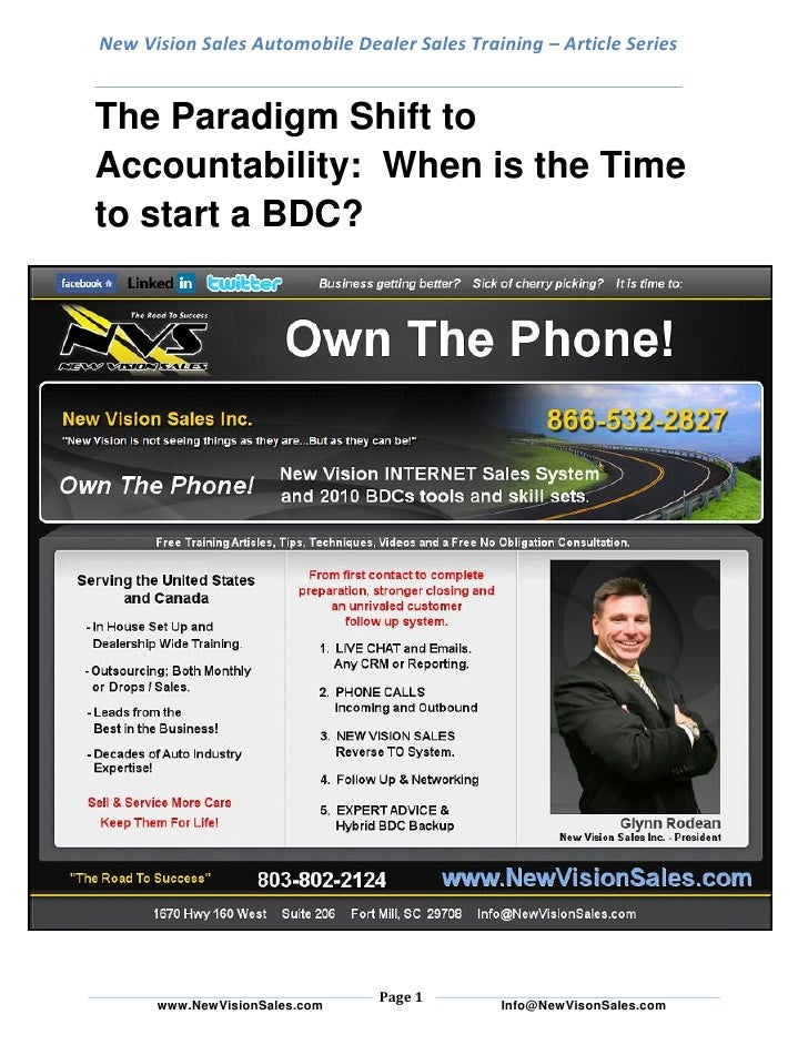 New Vision Sales Automobile Dealer Sales Training – Article Series   The Paradigm Shift to Accountability: When is the Tim...
