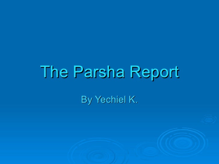 The Parsha Report By Yechiel K.