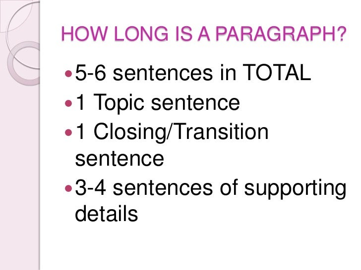 The Parts of a Paragraph
