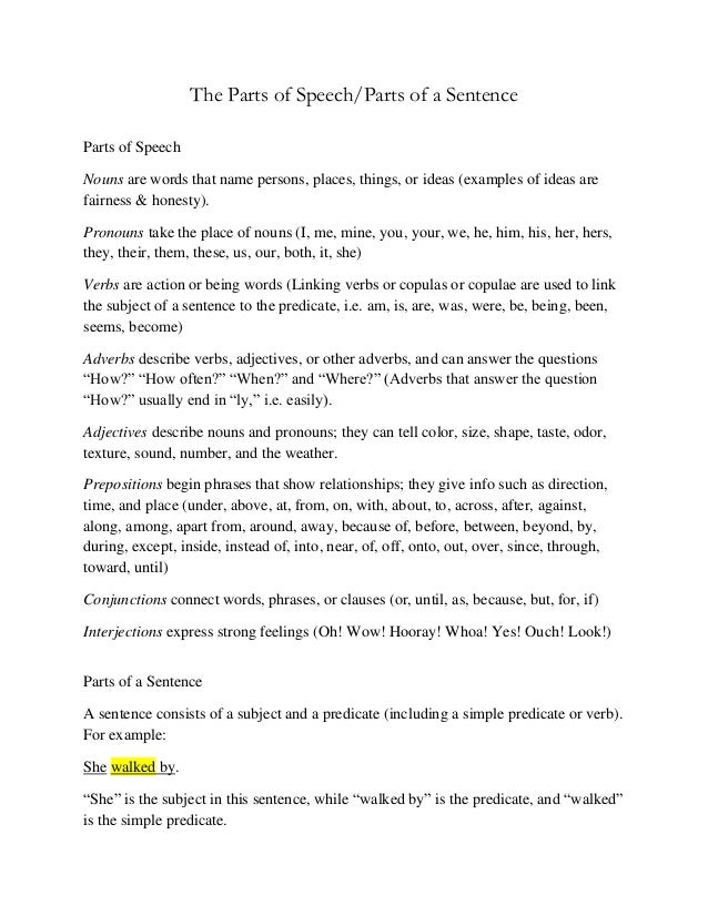 The Parts of Speech/Parts of a Sentence Parts of Speech Nouns are words that name persons, places, things, or ideas (examp...