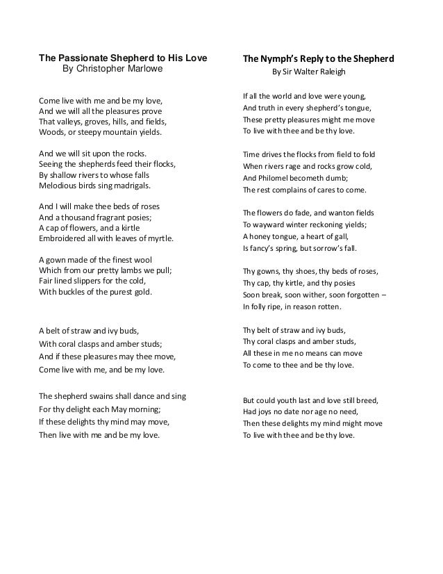 A comparison of two similar poems in the passionate shepherd to his love by christopher marlowe and