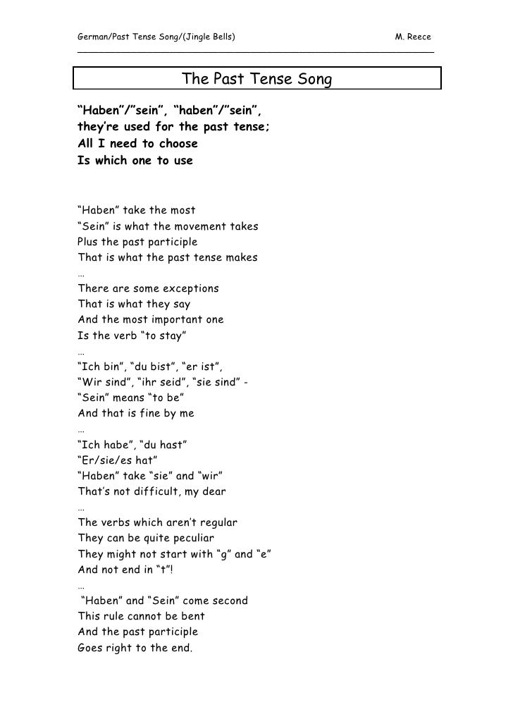 The Past Tense Song[1]