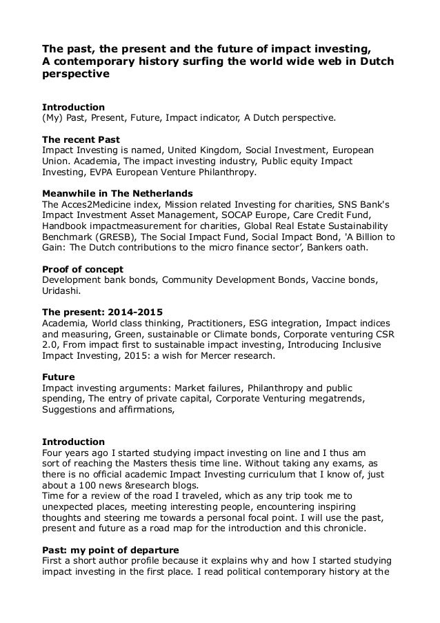 Impact Investing: The past the present and the future pdf