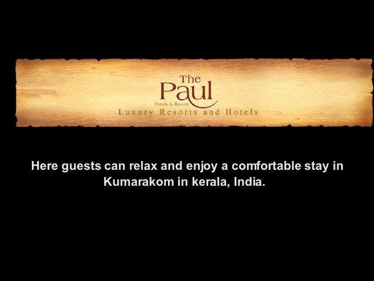 Here guests can relax and enjoy a comfortable stay in Kumarakom in kerala, India.