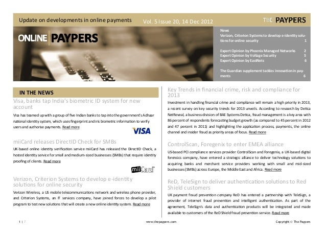Update on developments in online payments                                         Vol. 5 Issue 20, 14 Dec 2012            ...