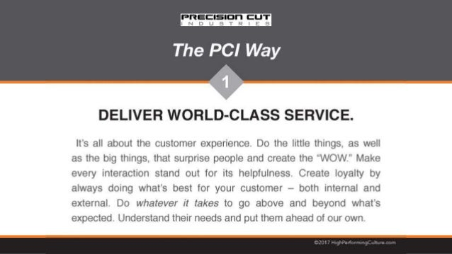 The PCI Way - Precision Cut Industries
