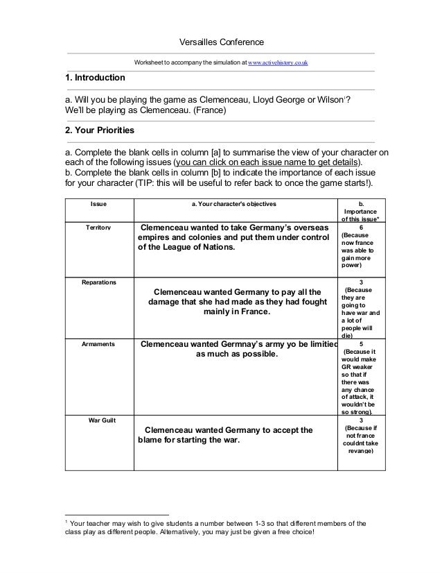 Versailles Conference Worksheet to accompany the simulation at www.activehistory.co.uk 1. Introduction a. Will you be play...