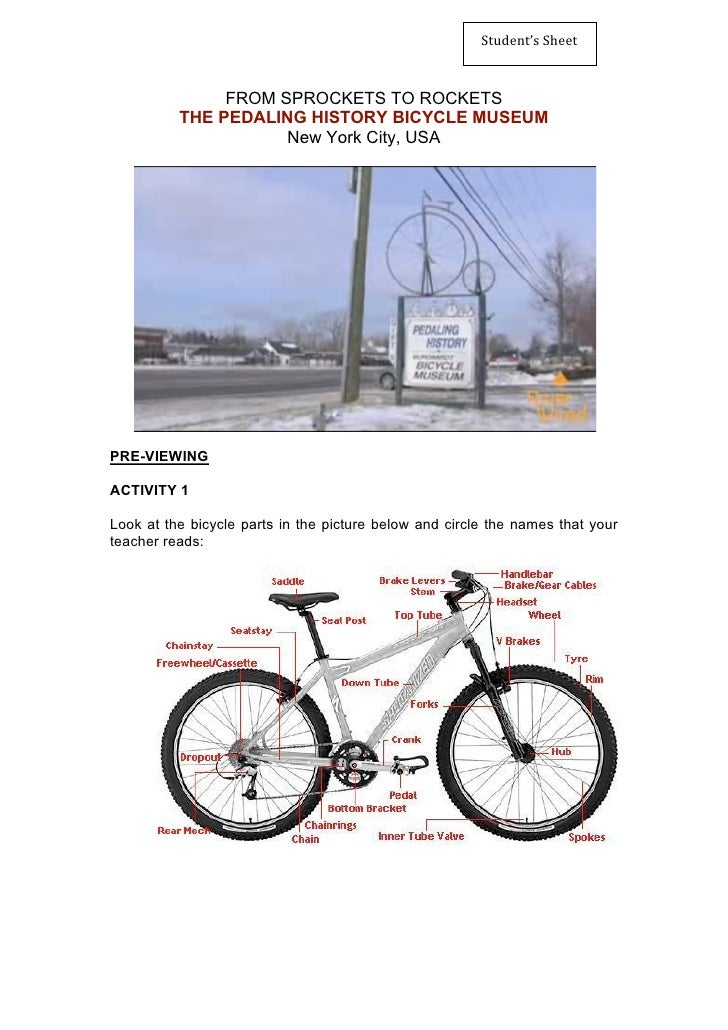 Student'sSheet                   FROM SPROCKETS TO ROCKETS           THE PEDALING HISTORY BICYCLE MUSEUM                ...
