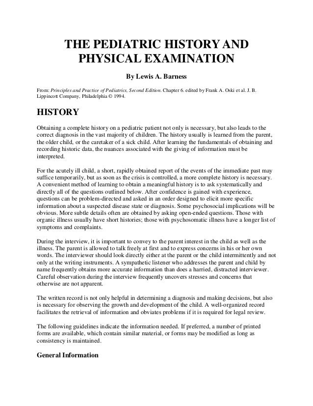 The pediatric history and physical examination for H and p template